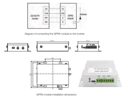 INVT drive Goodrive100-PV series GPRS module and monitoring APP.