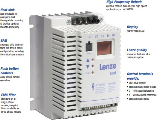 Lenze SMD series Variable Frequency General Purpose Drives.